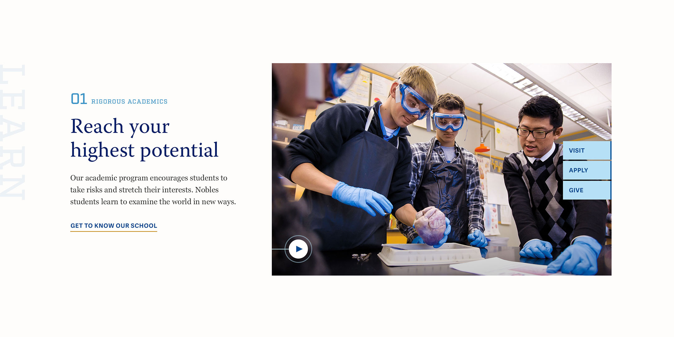 Noble and Greenough School Website Layout