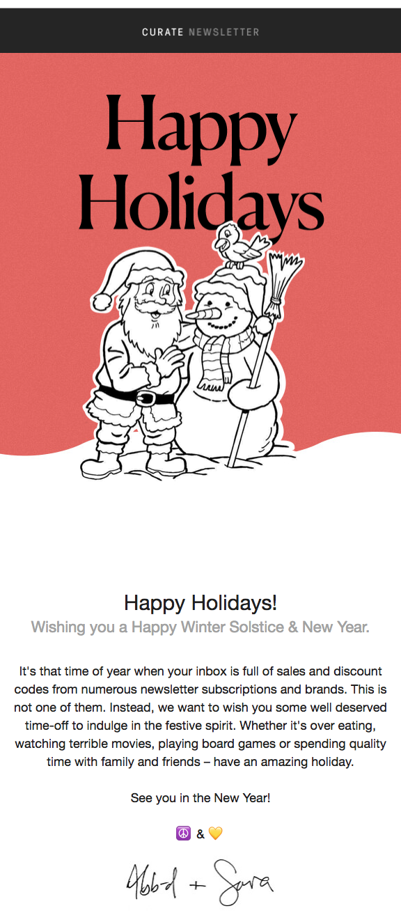 Example of a simple holiday message